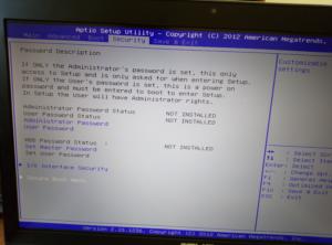 Bios Secure Boot menu