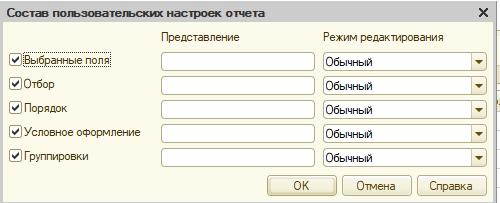 Состав пользовательских настроек отчета 1с